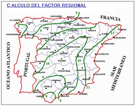 Isolíneas Factor Regional