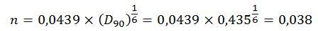 Cálculo coeficiente rugosidad Manning