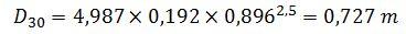 Cálculo D30 en la curva