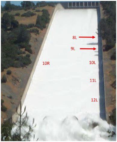 Aliviadero operativo (17 de mayo de 2006) y posiblemente los drenes 9L, 8L y 10R no funcionaran adecuadamente