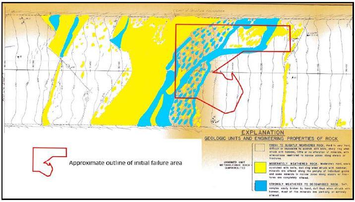 Extensiones de rocas moderadamente erosionadas y fuertemente erosionadas. Mapa del Informe Geológico Final